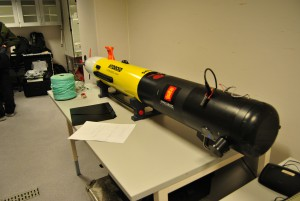 The AUV, sitting on the lab bench waiting for input