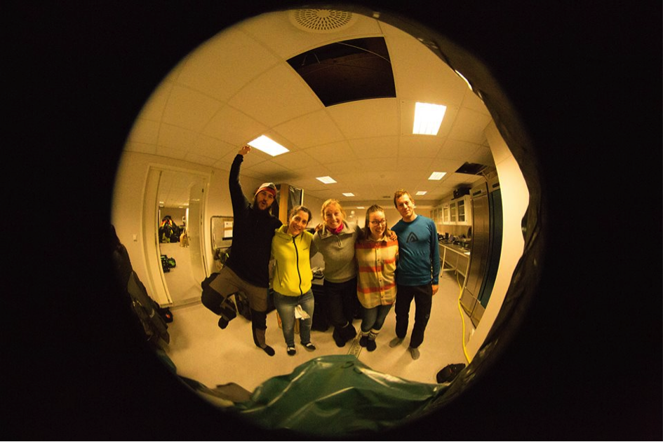 The group, fish-eyed